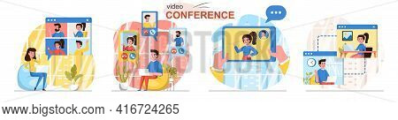 Video Conference Concept Scenes Set. Employees Make Video Call To Colleagues, Men And Women Meet Onl