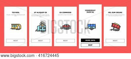 Trailer Transport Onboarding Mobile App Page Screen Vector. Trailer For Transportation Animal And Pa