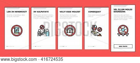 Poverty Destitution Onboarding Mobile App Page Screen Vector. Lost Job And House, Miscarriage And Il