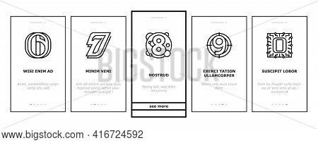 Numbers Numeral Title Onboarding Mobile App Page Screen Vector. One Two Three Four Five Six Seven Ei