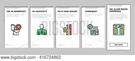 Diabetes Treatment Onboarding Mobile App Page Screen Vector. Blood Sugar Measurement And Control, In
