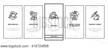 Cruelty Free Animals Onboarding Mobile App Page Screen Vector. Not Tested On Rabbit And Dogs, Cruelt