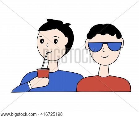 A Couple Of Teenagers Spend Time Together. The Boys Are Friends. Vector Cartoon.