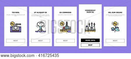 Hydrogen Industry Onboarding Mobile App Page Screen Vector. Hydrogen Eco Energy Industrial Plant And