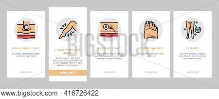 Edema Disease Symptom Onboarding Mobile App Page Screen Vector. Venous And Fatty, Lymphatic And Hypo