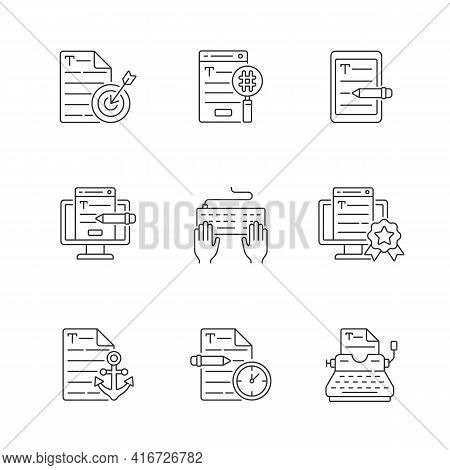 Writing Seo Text Linear Icons Set. Urgent Copywriting Services. Freelance Project, Seo Work. Customi