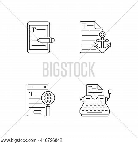 Copy Writing Linear Icons Set. E Book Editing Services. Anchor Text. Seo Work, Professional Typewrit
