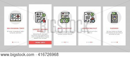 Allowance Finance Help Onboarding Mobile App Page Screen Vector. Checking Status And Issue Of Allowa