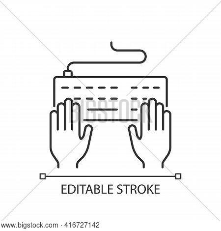 Keyboard Linear Icon. Professional Freelancer. Copywriter Work. Enter Information With Keypad. Thin