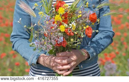 Close Up Of Young Woman In Denim Jacket Is Holding Bouquet Of Wildflowers. Female Hands Hold Large B
