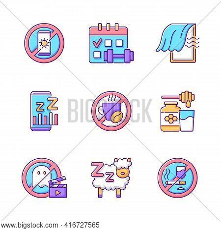 Insomnia Reasons Rgb Color Icons Set. No Device Before Bedtime. Sleep Hygiene Improvement. Regular E