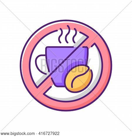 No Caffeine Rgb Color Icon. Limit Coffee Intake. Dietary Drink. Avoid Unhealthy Product. Cause Of Sl