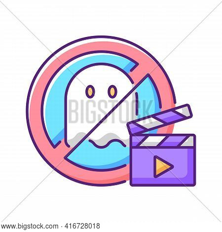 No Horror Movies Rgb Color Icon. Restriction For Cinematography And Entertainment. Avoid Thriller Fi