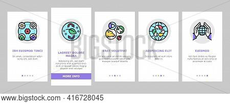 Ecosystem Environment Onboarding Mobile App Page Screen Vector. Ecosystem And Ecology, Biodiversity