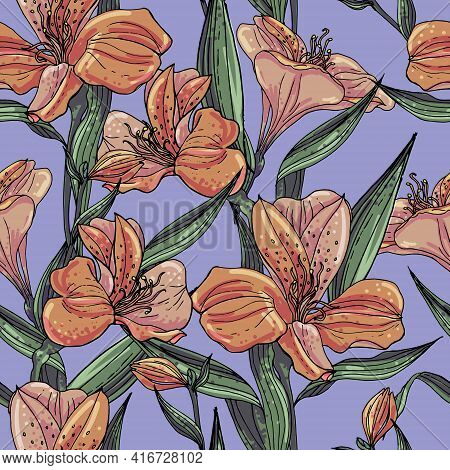 Seamless Vector Pattern With Pastel Orange Alstroemeria On A Violet Background.