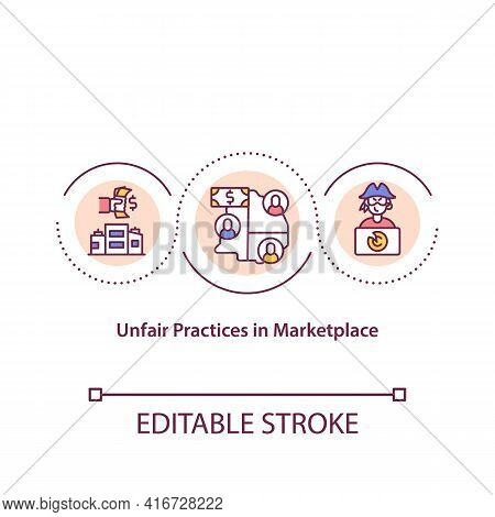Unfair Practices In Marketplace Concept Icon. Practices That Unlawfully Prevent Or Reduce Competitio