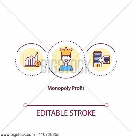 Monopoly Profit Concept Icon. Firm That Lacks Any Viable Competition And Is Sole Producer Of Industr