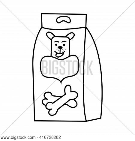 Dog Food Packaging Doodle Style. Pet Food. Pack With Dog And Bones Hand Drawing. Animal Care Icon Is