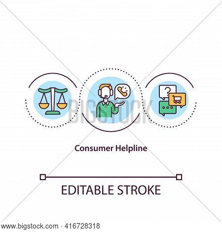 Consumer Helpline Concept Icon. Client Help Desk. Arguent About Product Or Service Provided. Busines