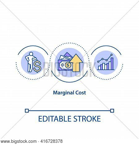 Marginal Cost Concept Icon. Change In Total Cost That Arises When Quantity Produced Is Incremented B