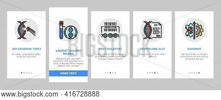 Genetic Engineering Onboarding Mobile App Page Screen Vector. Animal And Human, Fruit And Meat Gmo F
