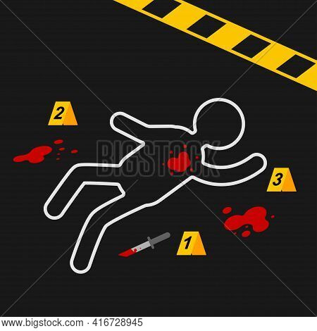 Crime Scene With A Dead Body Circled In Chalk. Vector Cartoon Illustration.