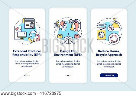 E-waste Reduction Initiatives Onboarding Mobile App Page Screen With Concepts. Design For Green Walk