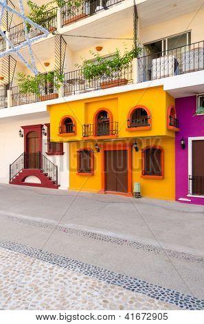 Colorful apartment building in Puerto Vallarta, Mexico.