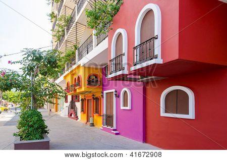 Colorful apartment building in Puerto Vallarta, Mexico. poster