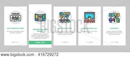 Forum People Meeting Onboarding Mobile App Page Screen Vector. International And Business Online For