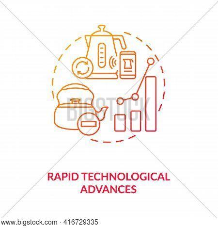 Rapid Technological Advances Concept Icon. E-waste Management Idea Thin Line Illustration. Hazardous