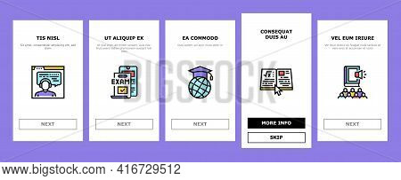Online Education Book Onboarding Mobile App Page Screen Vector. Online Education Lesson And Library,