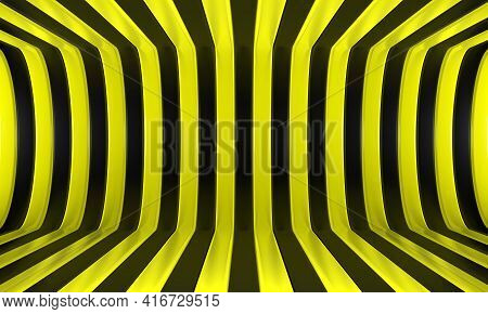 Abstract Geometric Background With Black And Yellow Convergence Stripes With Shadows And Glares. 3d