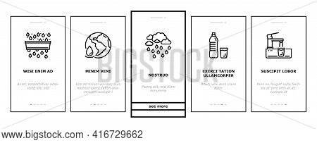 Water Purification Onboarding Mobile App Page Screen Vector. Filter And Purifying Equipment, Bottle