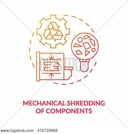 Mechanical Components Shredding Concept Icon. E-waste Recycling Step Idea Thin Line Illustration. Cu