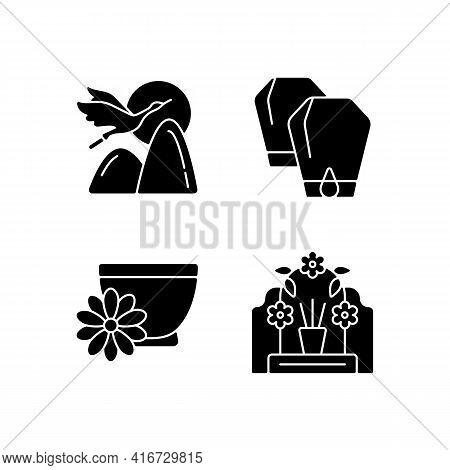 China National Holidays Black Glyph Icons Set On White Space. Crane. Lantern Festival. Chrysanthemum