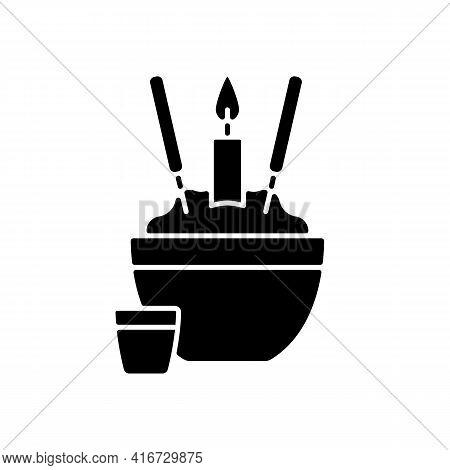 Rice Bowl Black Glyph Icon. Chinese Funeral Tradition. Upright Sticking Chopsticks. Tsukitate-bashi.