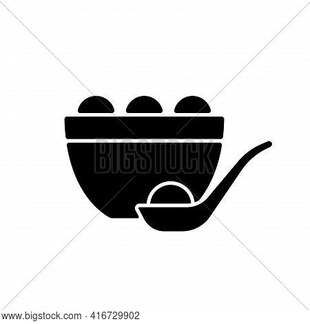 Tangyuan Black Glyph Icon. Glutinous Rice Dumpling. Winter Solstice Festival. Chinese Food. Making A