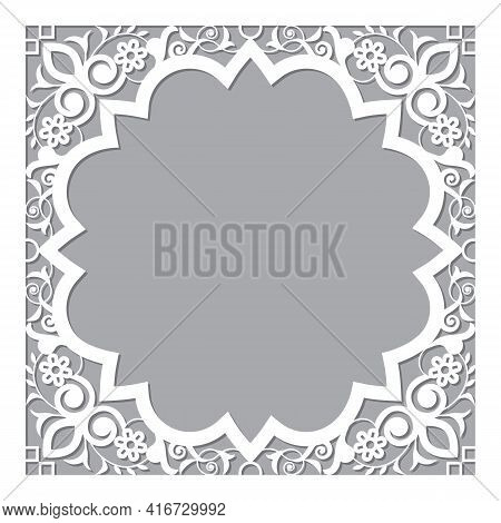 Moroccan Carved Style Openwork Vector Frame Or Border Design With Corners - Perfect For Greeting Car