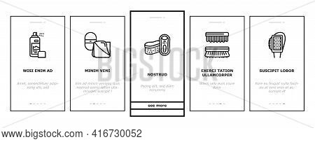 Shoe Care Accessories Onboarding Mobile App Page Screen Vector. Leather And Velvet, Children And Eve