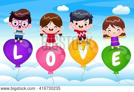 Illustration Vector Graphic Of 4 Happy Kids On Flying Love Balloon. Perfect For Children Book Cover,