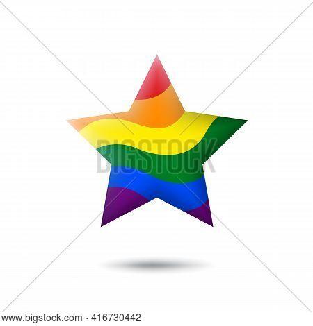 Lgbt Concept - Rainbow Pride Flag Lgbtq Icon In The Shape Of Star. Abstract Waving Lgbtq Flag. Multi
