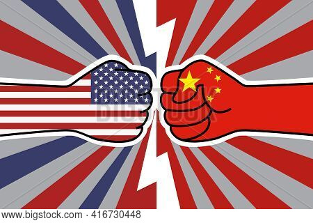 Usa China Trade War. Us Flag Fist Vs China Flag Fist. American Chinese Economic Confrontation. Vecto