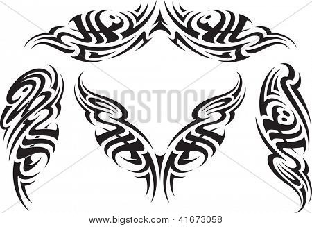 Tribal styled tattoo patterns fit for a back, arms and shoulders. Raster image.