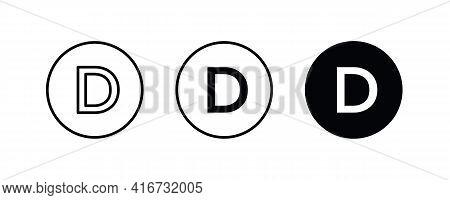 D Letter Logo, Letter D Icons Button, Vector, Sign, Symbol, Logo, Illustration, Editable Stroke, Fla