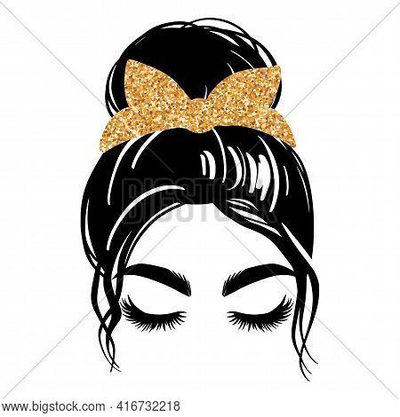 Messy Bun With Golden Glitter Bandana Or Headwrap. Vector Woman Silhouette. Beautiful Girl Drawing I
