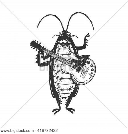 Cartoon Cockroach Orchestra Playing The Guitar Sketch Engraving Vector Illustration. T-shirt Apparel