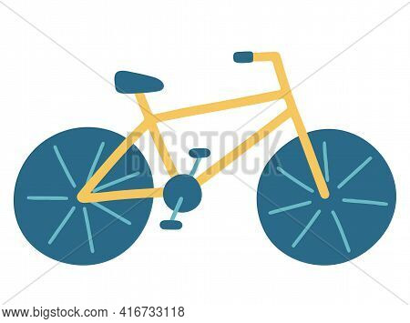 Bike. Bicycle For Adults And Children With Wheels And A Rack And Pedals. Vector Illustration In Flat
