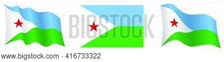 Flag Of Djibouti In Static Position And In Motion, Fluttering In Wind In Exact Colors And Sizes, On