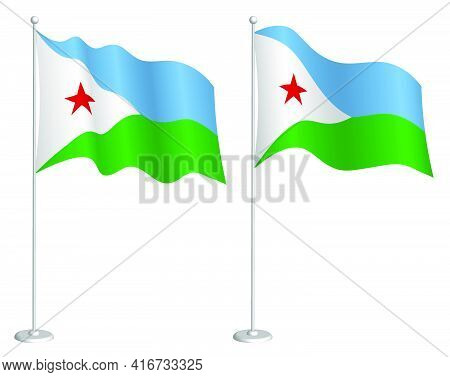 Flag Djibouti On Flagpole Waving In Wind. Holiday Design Element. Checkpoint For Map Symbols. Isolat